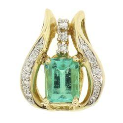 14k Yellow Gold 1.95 ctw Green GIA Emerald Solitaire & Diamond Pendant