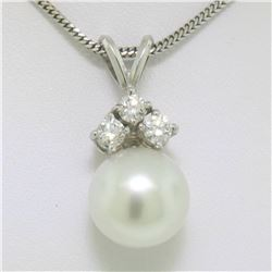 "14k White Gold 0.48 ctw VS Diamond Large 12mm Pearl Pendant w/ 18"" Chain"