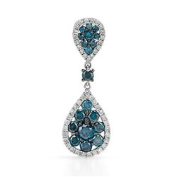 14k White Gold 1.26CTW Diamond and Blue Diamonds Pendant, (I1-I2/Gold)