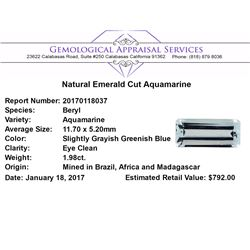 1.98 ct.Natural Emerald Cut Aquamarine