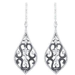 18k White Gold 3.58CTW Diamond and Black Diamonds Earrings, (VS2 /G)