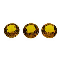 17.41 ctw.Natural Round Cut Citrine Quartz Parcel of Three