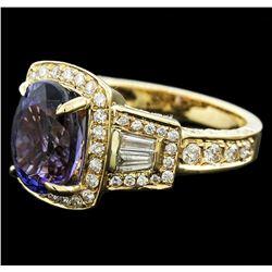 14KT Yellow Gold 3.11 ctw Tanzanite and Diamond Ring