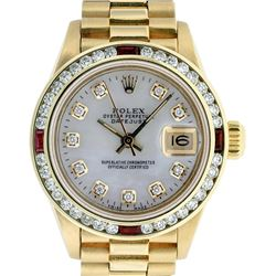 Rolex Ladies 18K Yellow Gold MOP Diamond & Ruby President Wristwatch With Rolex