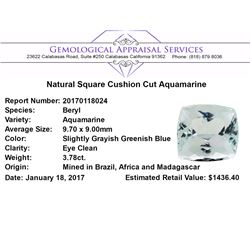 3.78 ct.Natural Square Cushion Cut Aquamarine