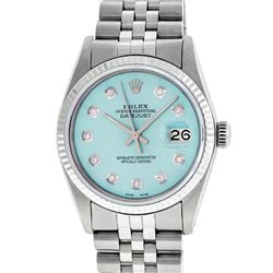 Rolex Mens Stainless Steel Ice Blue Diamond 36MM Datejust Wristwatch
