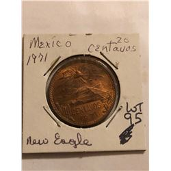 1971 Mexico 20 Centavos NEW EAGLE MS High Grade