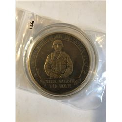 EXTREMELY RARE Large ARMY Challage Coin SHE WENT TO WAR Presented by General