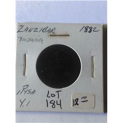 1882 ZANZIBAR 1 Pyso Coin