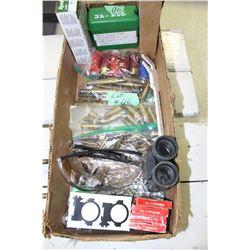 Box of Misc. Bullets; Ammo; Binoculars; Glasses & Primers