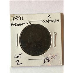 1891 ARGENTINA 2 Centavos Nice Early Coin