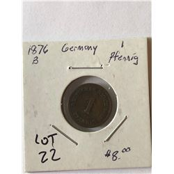 1876 Germany 1 Pfenning Nice Early Coin