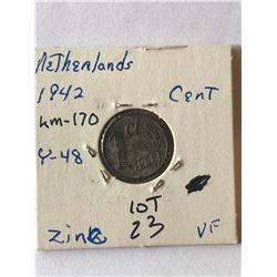 1942 WWII Netherlands Cent Very Fine Grade