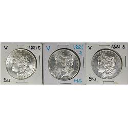 THREE 1881-S MORGAN DOLLARS