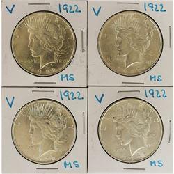 FOUR 1922 PEACE DOLLARS