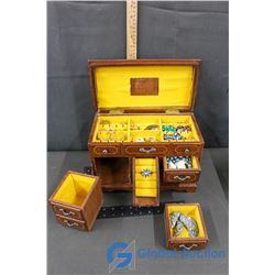 Wooden Musical Jewelry Box w/Assorted Jewelry