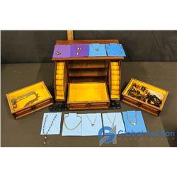 Wooden Jewelry Box w/Assorted Jewelry