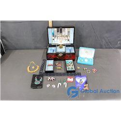 Japanese Jewelry Box w/Assorted Jewelry