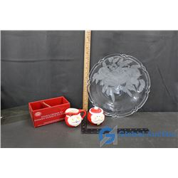 Frosted Holiday Serving Plate and Sugar & Creamer Set