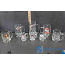 (8) A&W Root Beer and Hires Root Beer Glass Mugs