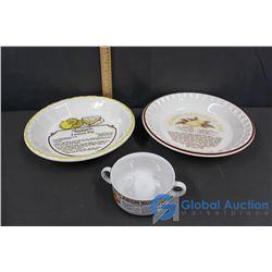 (2) Recipe Pie Plates and (1) Bowl