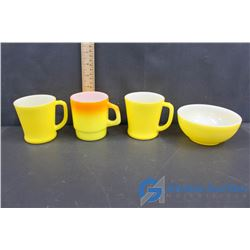 (3) Fire King Cups and (1) Bowl