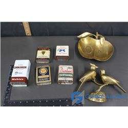 (5) Assorted Kitchen Spice Tins & Brass Decor