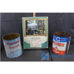 Firestone & Stan Guard Anti-Freeze Tins w/ 1950 Hardware Calendar