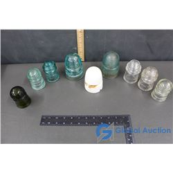 Porcelain C.P.R. Insulator, (6) Small Glass Insulators & (2) Large G.T.P. Tel Co. Glass Insulators