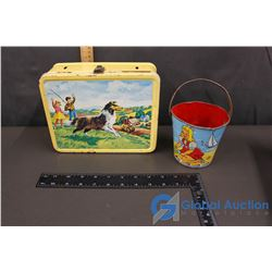 Tin Lunch Box & Tin Sand Pail