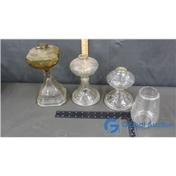 (3) Coal Oil Lamp Bases & Glass Shade