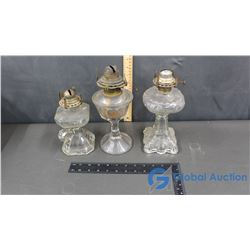 (3) Coal Oil Lamps - No Chimneys