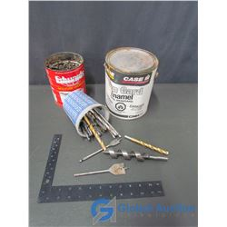Can of Assorted Nails; Case IH Iron Guard Enamel Paint & Container of Assorted Drill Bits