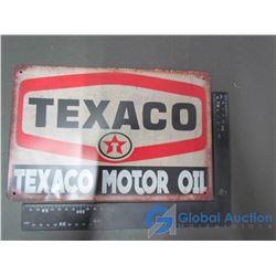 Tin Texaco Motor Oil Sign (Reproduction)