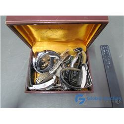Box of Assorted Watches & Men's Jewelry