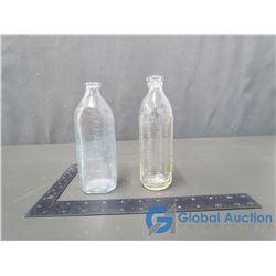 (2) Tuffy & Becks Glass Baby Bottles