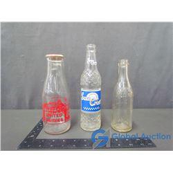 (1) Glass Milk Bottle & (2) Glass Pop Bottles
