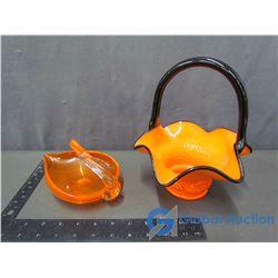 Art Glass Basket & Glass Bird