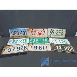 (9) Assorted License Plates - 8 from SK 1 from North Dakota