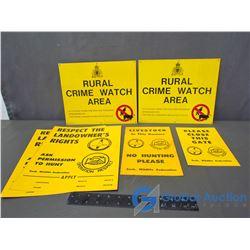 (2) Rural Crime Watch Tin Signs & (4) SWF Cardboard Signs