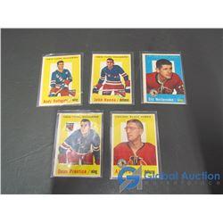 (5) 1959 - 1960 Topps Hockey Cards