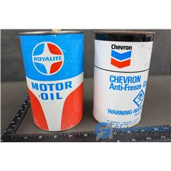 Chevron Anti-Freeze & Royalite Motor Oil Tins