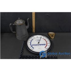 Enamel Kettle, Polaris Thermometer & Tel-Tale Wiper Arm Pressure Meter