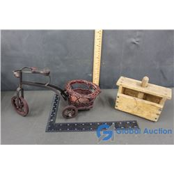 Wooden Decorative Tricycle & Wooden Butter Press