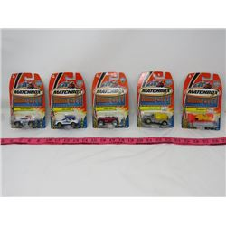 LOT OF 5 MATCHBOX CARS (HERO CITY) *RIG DIGGER, MIXOPOTAMUS, JEEP WILLYS, CRIME CAPPER & WHISTLE WAG