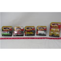 LOT OF 5 MAJORETTE TOY CARS (CONSTRUCTION W/2 FIGURINES, BUS, 4X4 RUNNER, ETC)