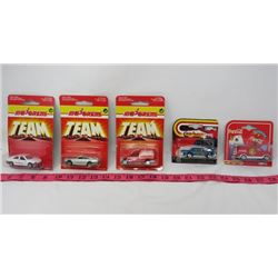 LOT OF 5 MAJORETTE TOY CARS (3 X TEAM, COCA-COLA VAN, ETC)