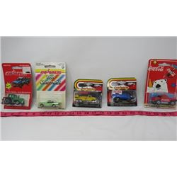 LOT OF 5 MAJORETTE TOY CARS (TOP CHROMES, COCA-COLA TRUCK, ETC)