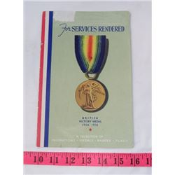 BRITISH VICTORY MEDAL BOOKLET (1914-1918)