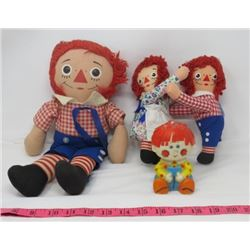 "LOT OF 4 DOLLS (VINTAGE) *RAGGEDY ANN AND ANDY* (LARGE RAGGEDY ANDY 14"" TALL)"